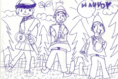 Children's drawing depicting the Hauvoy ensemble