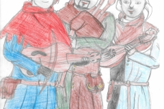 Children's drawing depicting the medieval music group Hauvoy