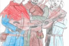 dessin d'enfant représentant des troubadours et leurs instruments de musique médiévale