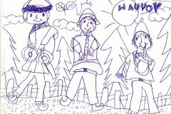 dessin d'enfant représentant des ménestrels lors d'un concert médiéval