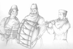 illustration mettant en scène des ménestrels avec leurs instruments médiévaux
