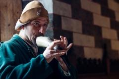 ménestrel jouant du gemshorn